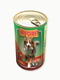 Puszka karma mokra dla psów z wołowiną i wieprzowiną 1250g